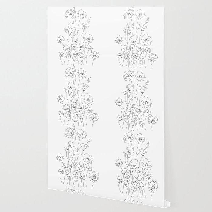 Poppy Flowers Line Art Wallpaper