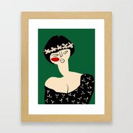 Girl with flower crown Framed Art Print
