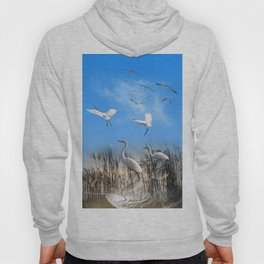 White Egrets in a Morning 1 Hoody