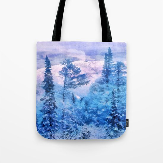 Winter forest in mountains Tote Bag