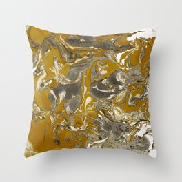 Brown and grey Marble texture acrylic Liquid paint art Throw Pillow