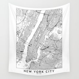 New York City White Map Wall Tapestry