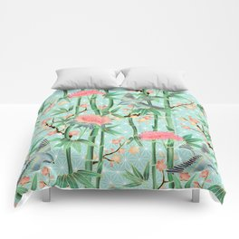 Bamboo, Birds and Blossom - soft blue green Comforters