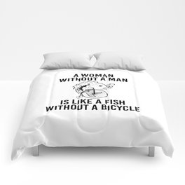 Woman Without Man Fish Without Bicycle Comforters