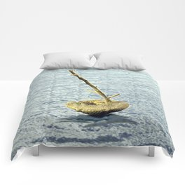 Stone-Sailboat on a Silver Sea Comforters