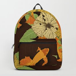 Night Time Goldfish Pond With Hibiscus Pattern Backpack