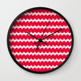 Magenta and White Sawtooth Wall Clock