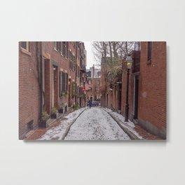 Snowy Beacon Hill Boston Metal Print