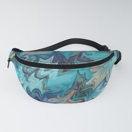 Blue and Gold Marble Pattern Fanny Pack