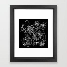 Feminine and Romantic Rose Pattern Line Work Illustration on Black Framed Art Print