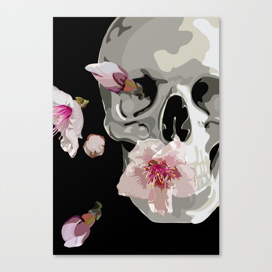 """""""Spring"""" Skull and flowers Canvas Print"""
