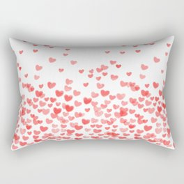 Hearts - Valentines Glitter Hearts in pink on white background for trendy girls valentines day Rectangular Pillow