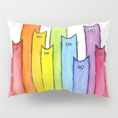 Cat Rainbow Watercolor Whimsical Animals Cats Pattern Pillow Sham