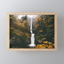 Multnomah Falls Autumn Leaves Framed Mini Art Print