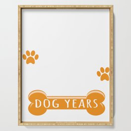 11th Anniversary Funny Married For 77 Dog Years Marriage product Serving Tray