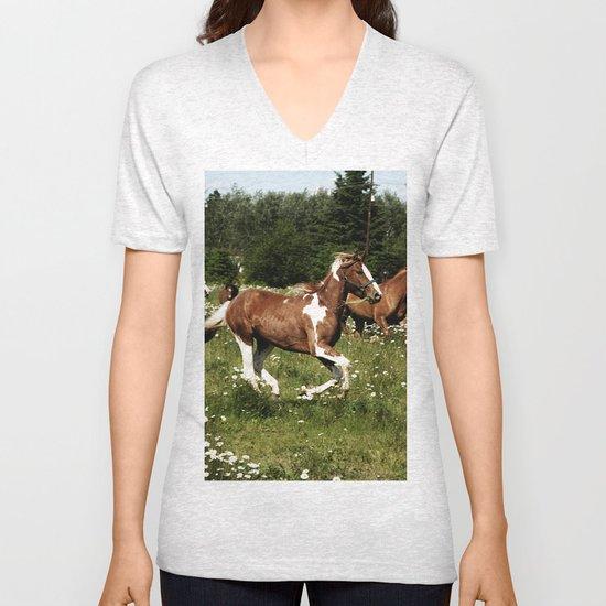 Spring Horse Run Unisex V-Neck