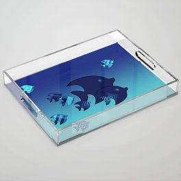 Nine Blue Fish with Patterns Acrylic Tray