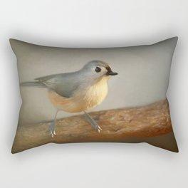 Winter Tufted Titmouse Rectangular Pillow