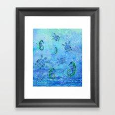 Sea Turtle Batik Framed Art Print