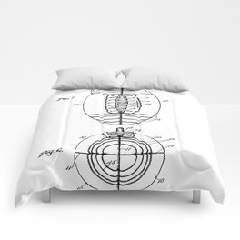 American Football Patent - Football Art - Black And White Comforters