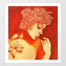 Female Study with Tiger Lily Art Print