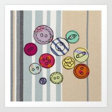 Embroidered Button Illustration Art Print