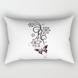 Tattoo tendril with flowers, stars and butterfly Rectangular Pillow