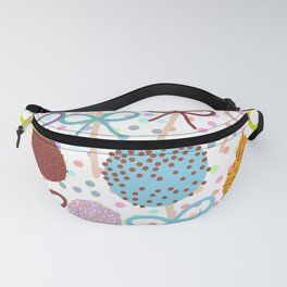 seamless pattern Colorful Sweet Cake pops set with bow on white polka dot background Fanny Pack