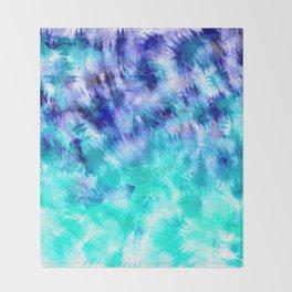 modern boho blue turquoise watercolor mermaid tie dye pattern Throw Blanket