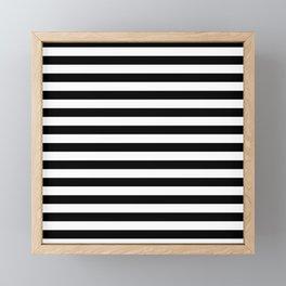 Black and White Horizontal Strips Framed Mini Art Print