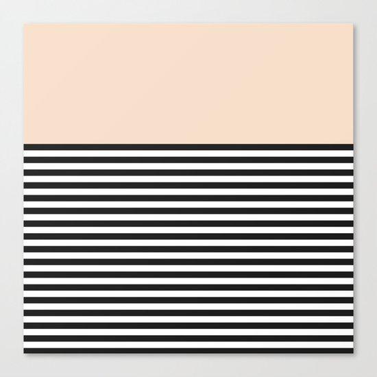 STRIPE COLORBLOCK {CREAM} Canvas Print