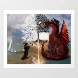 The Owl,Wizard,Unicorn and the Dragon Art Print