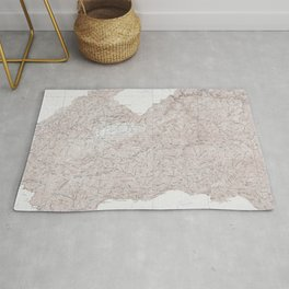 Vintage Smoky Mountains National Park Topography Map Rug