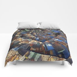 Spinning City Walls Comforters