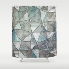 Teal And Grey Triangles Stained Glass Style Shower Curtain