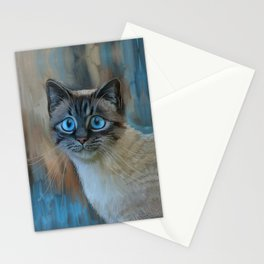 Looking for Love - sad kitty cat portrait Stationery Cards