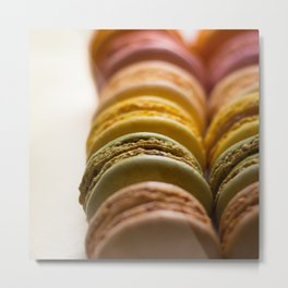 Rows of Colorful French Macaroons Metal Print