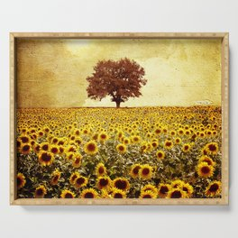 lone tree & sunflowers field Serving Tray