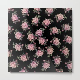 Pink Roses Dark Floral Pattern Metal Print