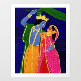 Radha & Krsna Colorful Illustration  Art Print