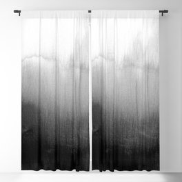 Modern Black and White Watercolor Gradient Blackout Curtain