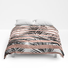 Trendy tropical palm trees chic rose gold stripes Comforters