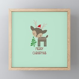 Cute Christmas Deer in a Santa Hat Framed Mini Art Print