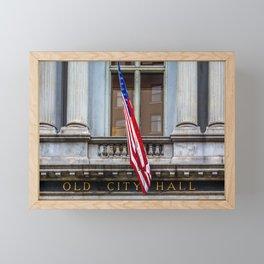 Old City Hall Sign with Flag Framed Mini Art Print