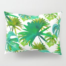 Abstract hand painted forest green watercolor tropical leaves Pillow Sham