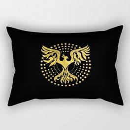 Gold Decorated Phoenix bird symbol Rectangular Pillow