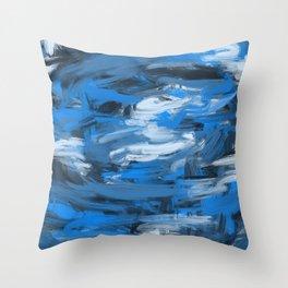 Blue & White Abstract Throw Pillow