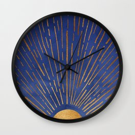 Twilight / Blue and Metallic Gold Palette Wall Clock