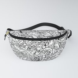 Lots of Bodies Doodle in Black and White Fanny Pack