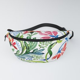 Watercolor Garden Folk Floral In Vintage Style Fanny Pack